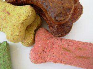 Colorful dog treats.